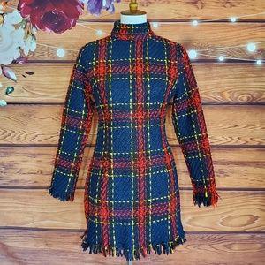 CBR Tweed Plaid Long Sleeve Mini Dress